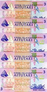 LOT, Cook Islands, 5 x $3, 1992, P-7, UNC