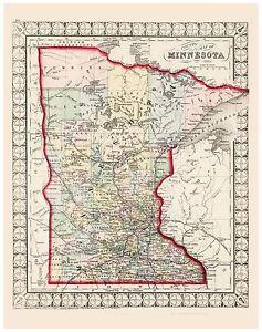 Old Vintage Map of Minnesota Mitchell 1874