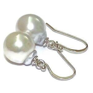 Baroque 9.3 x 10.5mm Silvery White Australian South Sea Pearl Dangle Earrings