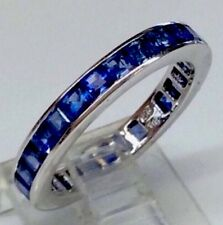 Natural Sapphire Channel Set Eternity Anniversary Band Ring Solid 750/18K WG