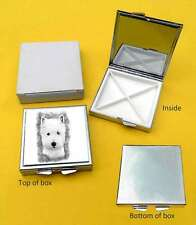 West Highland White Terrier Dog Polished Metal Square Pill Box Gift