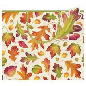 Caspari Large Gift Bag, Linen Leaves (8930B3)