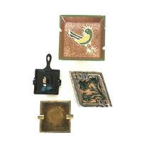 Four Rare Vintage Ceramic, Brass, & Cast Iron Cigarette Ashtrays