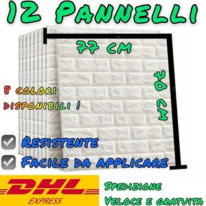 Muro Finto Pannelli 3D Adesivi effetto mattone pietra per parete 77x70cm 12 Pz.