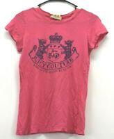 Juicy Couture Youth Girls Size Medium Short Sleeve Crew Neck Cotton Pink T-Shirt
