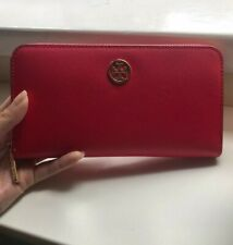 Authentic Coral Tory Burch Long Wallet with coin zip compartment.
