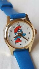 Vintage child's or lady's Papa Smurf character watch wind up 80s wind up nice!!