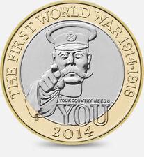 2014 £ 2 I Guerra Mundial 100YRS Dos Libras Moneda Centenario caza 28/32 Raro Bimetal 2 XX