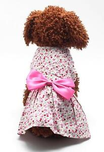 Small Dog Cat Dress Cute Bow Tie Skirt Puppy Pet Clothes Teddy Apparel Pink blue