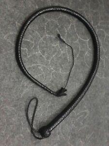 4 Feet Long 12 Plait Genuine Leather Signal whip and Flogger Snake Bullwhip