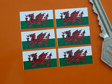 Set DI 6 PICCOLI Welsh Dragon Bandiera Adesivi 25mm Auto Motorsport BIKE RACING Galles