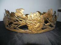 at nouveau 1900 armature lustre corbeille cuivre doré decor oeillet vasque coupe