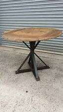 NEW INDUSTRIAL VINTAGE RUSTIC TIMBER BISTRO CAFE ROUND DINING TABLE - 100cm