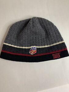SWIX Grey/Black/RED Acrylic Beanie Ski Hat US Ski Team Embroidery