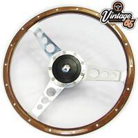 """Volkswagen Golf Mk1 14"""" Light Wood Rim Steering Wheel, Fitting Boss Kit & Horn"""