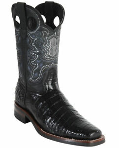 WILD WEST BLACK CROCODILE BELLY COWBOY BOOT RODEO-SQUARE-TOE RUBBER SOLE (EE)