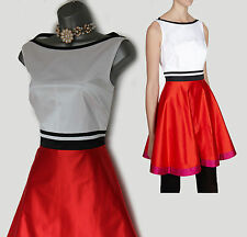 KAREN MILLEN White Red Satin Feminine Color Block Formal Dress 16  EU 44 £195