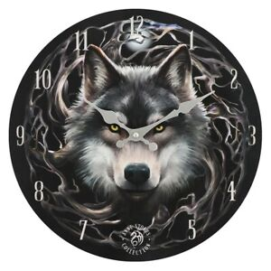 STUNNING WALL CLOCK - NIGHT FOREST - WOLF - ANNE STOKES