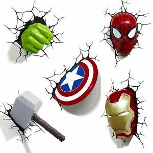 MARVEL AVENGERS 3D WALL LIGHT - HULK, IRON MAN, CAPTAIN AMERICA, THOR, SPIDERMAN