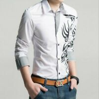 Men Single Breasted Long Sleeve Printing Slim Fit Spring Youth Casual Shirts New