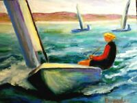 Original Oil Painting Sailing Regatta Sailboats Seascape Impressionism Nautical