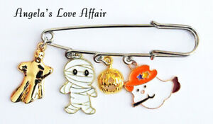 HALLOWEEN SPOOKY ENAMEL GHOST  HANGING CHARMS SAFETY PIN BROOCH BADGE