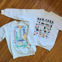 Vintage 80's/90's Tourist Crewneck Pullover Sweaters Chicago-New York Large Mens
