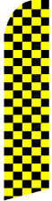 CHECKERED Yellow Black Swooper Banner Feather Flutter Bow Tall Curved Top Flag