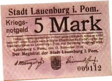 1918 Germany LAUENBURG 5 Mark Banknote