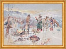 The Wolfers Camp Charles M. Russell Indianer Winter Zeltlager Beute B A3 01113
