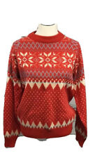 Red Christmas Party Sweater Large Snowflake Vintage 90s Winter Crew Neck