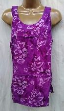 Round neck batik  Hawaii sleeveless top pleated muu  sun beach summer purple L