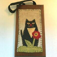 Black Cat Felt and Wooden Wall Plaque Decoration Halloween