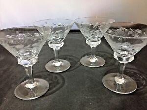 Set Of 4 Vintage Liquor/Sherbet Glasses 3 inch tall