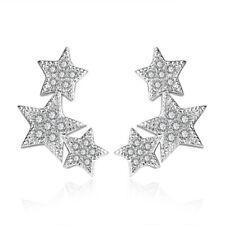 925 Sterling Silver Horoscope Elegant Zirconia Stud Earrings Women Jewelry Gift