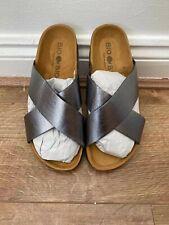 Bio Bio Damen Silber Leder Fußbett Slider UK Größe 5 No Box NEU