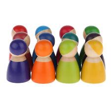 12pcs Painted Rainbow Wooden Peg Dolls Kids Pretend Play Montessori Learning Toy
