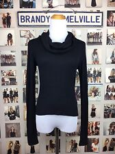 New! brandy melville Black Ribbed Knit Cowl Neck  long sleeve turtleneck Top NWT