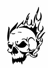 High Detail Flaming Skull Airbrush Stencil - Free UK Postage