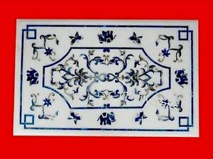18 x 36 Inches Stone Coffee Table Top White Center Table with Lapis Lazuli Stone