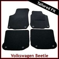VW NEW BEETLE Convertible 2003-2011 Oval Eyelets Tailored Carpet Car Mats BLACK