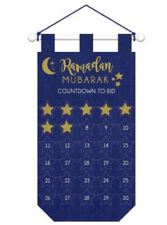 Ramadan Mubarak Countdown to EID Hanging Felt Sign / Banner w/ Add Ons Blue