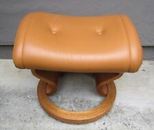 Ekornes teak leather ottoman foot stool Norway Danish Modern caramel mustard