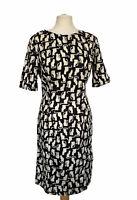 People Tree Organic Cotton Cat Print Shift Dress Size 14