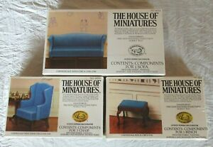 3 DOLL HOUSE OF MINIATURES FURNITURE KITS, CHIPPENDALE SOFA, WING CHAIR, BENCH,