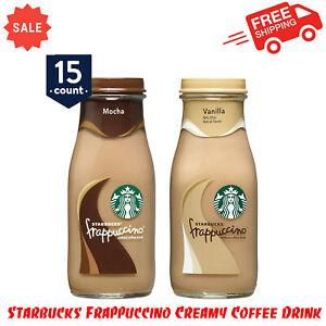 15 Pack Frappuccino Creamy Coffee Drink, Mocha & Vanilla Variety Pack, 9.5 Fl Oz