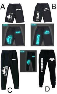 Boys DJ Marshmello Fortnite Black Joggers Shorts track bottoms Sports PE 4-12yrs