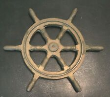 "vintage Solid Brass 7"" SHIP'S WHEEL Nautical Theme Wall Decor / Paper Weight"