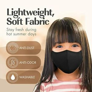 4 Mask School Kids Childrens Black Adjustable Mask Cotton Waterproof Washable