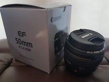 Canon ef 50mm F1.4 USM Lente de enfoque automático rápido Prime + Lente Frontal y Trasera Tapas -